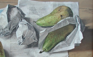Oil on canvas hugely detailed picture of four pears partially wrapped in the BMJ