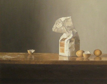 Still life of bag of flour and eggs oil on canvas, 50x39cm
