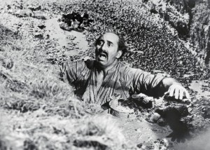 Man Sinking in Quicksand in Movie Scene
